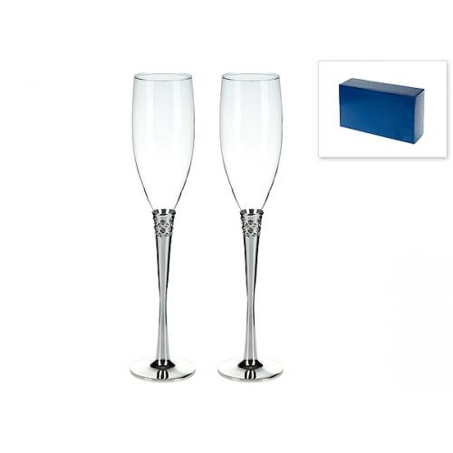 Бокал Wedding collection, для шампанских и игристых вин, на удлинённой ножке, 200 мл (2 штуки)