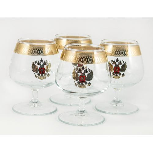 Подарочный набор для бренди Герб, 4 бокала, 330 мл