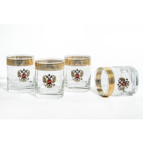 Подарочный набор для виски Герб, 4 стакана, 275 мл