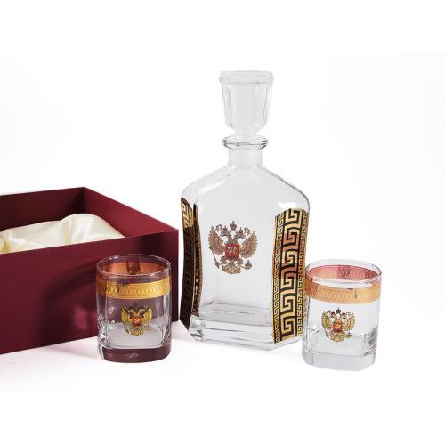 Подарочный набор Герб, штоф 800 мл, 2 стакана 275 мл, арт. 58524