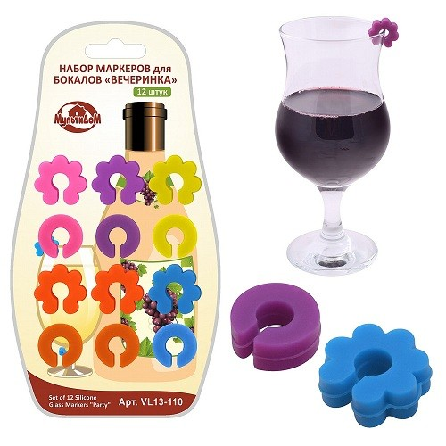 Набор маркеров для бокалов Вечеринка, 12 штук
