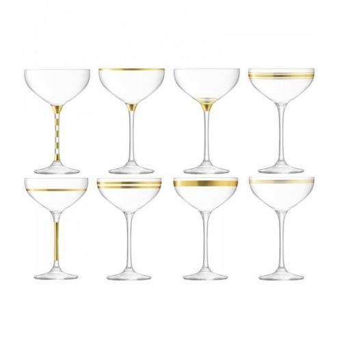 Бокал-креманка для шампанского с золотым декором Deco, 8 штук