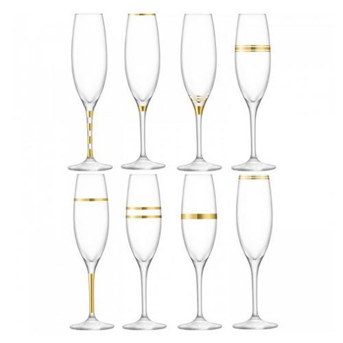 Бокал-флейта для шампанского с золотым декором Deco, 8 штук