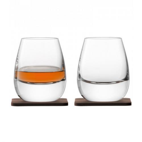 Стакан Islay Whisky, с деревянной подставкой, 2 штуки