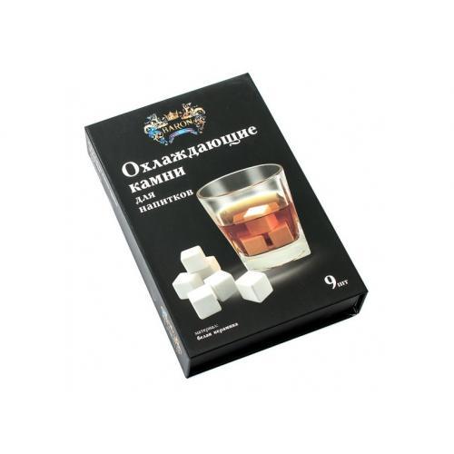Охлаждающие камни для виски, белая керамика, 9 штук