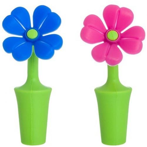 Набор пробок для бутылок Цветочки синий и розовый, 2 предмета, 4x4x9 см