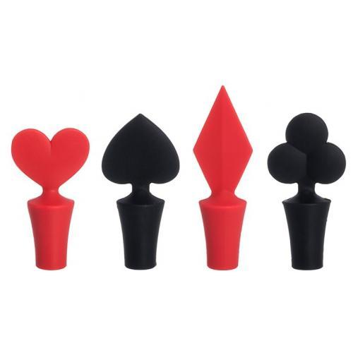 Набор пробок для бутылок Карточные масти красные и черные, 4 предмета, 4x4x9,5 см