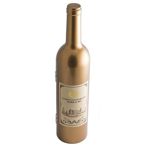 Набор винный Бутылка, цвет золотой, 32 см