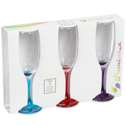 Набор бокалов Pasabahce Энжой, с цветными ножками, 190 мл, 3 штуки