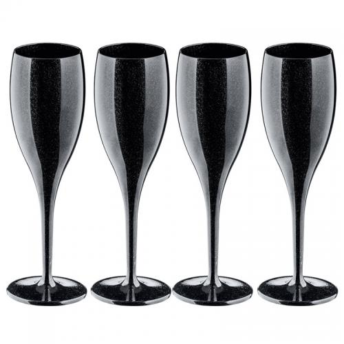 Набор бокалов для шампанского Superglas Cheers NO. 1, 100 мл, чёрный (4 штуки)
